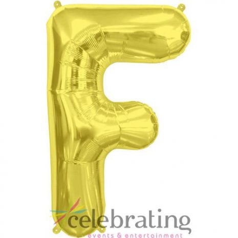 14in Gold Letter F Air-fill Foil Balloon