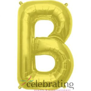 14in Gold Letter B Air-fill Foil Balloon