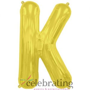 14in Gold Letter K Air-fill Foil Balloon