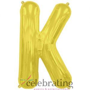 14in Gold Letter K Air-fill Foil Balloon