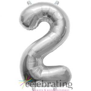14in Silver Number 2 Air-fill Foil Balloon