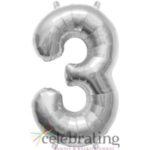 14in Silver Number 3 Air-fill Foil Balloon