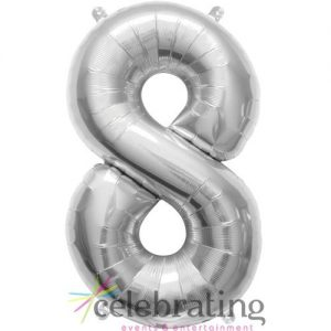 14in Silver Number 8 Air-fill Foil Balloon