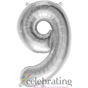 14in Silver Number 9 Air-fill Foil Balloon