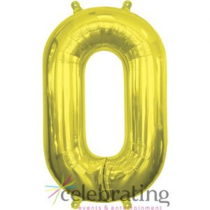 14in Gold Number 0 Air-fill Foil Balloon