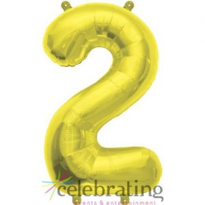 14in Gold Number 2 Air-fill Foil Balloon