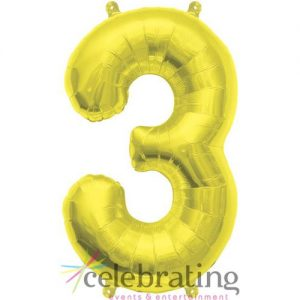 14in Gold Number 3 Air-fill Foil Balloon
