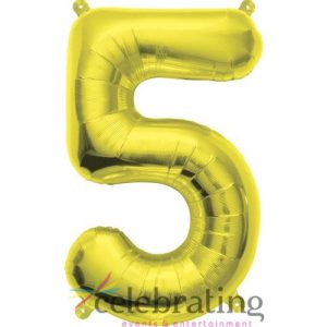 14in Gold Number 5 Air-fill Foil Balloon