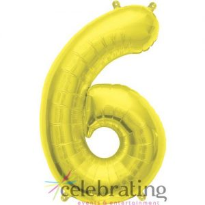 14in Gold Number 6 Air-fill Foil Balloon