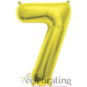 14in Gold Number 7 Air-fill Foil Balloon