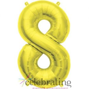 14in Gold Number 8 Air-fill Foil Balloon