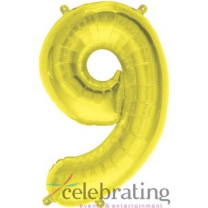14in Gold Number 9 Air-fill Foil Balloon