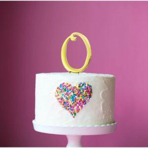 GOLD Cake Topper (7cm) - NUMBER 0