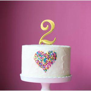 GOLD Cake Topper (7cm) - NUMBER 2