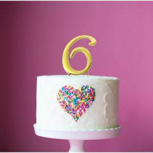 GOLD Cake Topper (7cm) - NUMBER 6