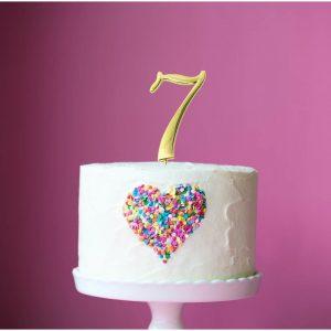 GOLD Cake Topper (7cm) - NUMBER 7