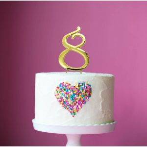 GOLD Cake Topper (7cm) - NUMBER 8