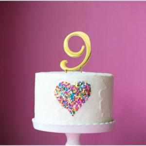 GOLD Cake Topper (7cm) - NUMBER 9