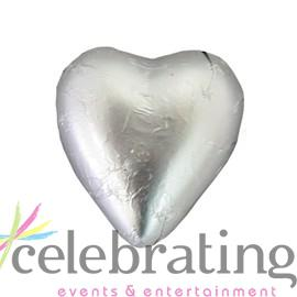 Milk Matt Silver Chocolate Hearts 1kg 120 pieces