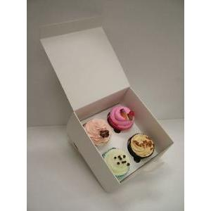 4 Hole White Cupcake Box