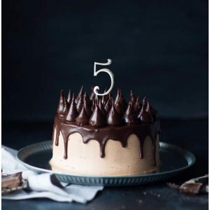 SILVER Cake Topper (7cm) - NUMBER 5