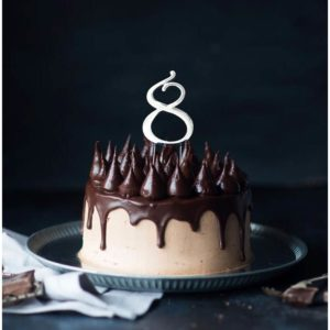 SILVER Cake Topper (7cm) - NUMBER 8