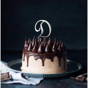 SILVER Cake Topper (7cm) - LETTER D