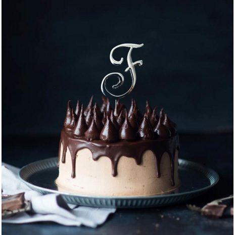 SILVER Cake Topper (7cm) - LETTER F