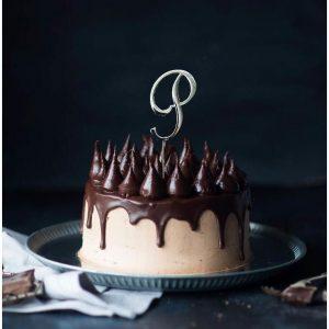 SILVER Cake Topper (7cm) - LETTER P