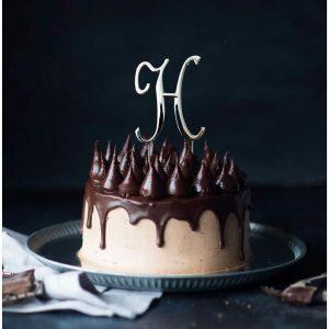SILVER Cake Topper (7cm) - LETTER H