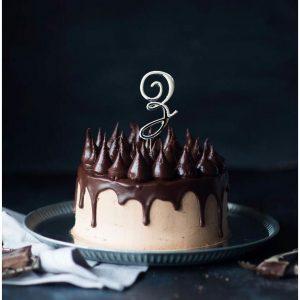 SILVER Cake Topper (7cm) - LETTER Z