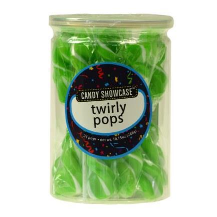 Green Twirly Lollipops - 24 Pack