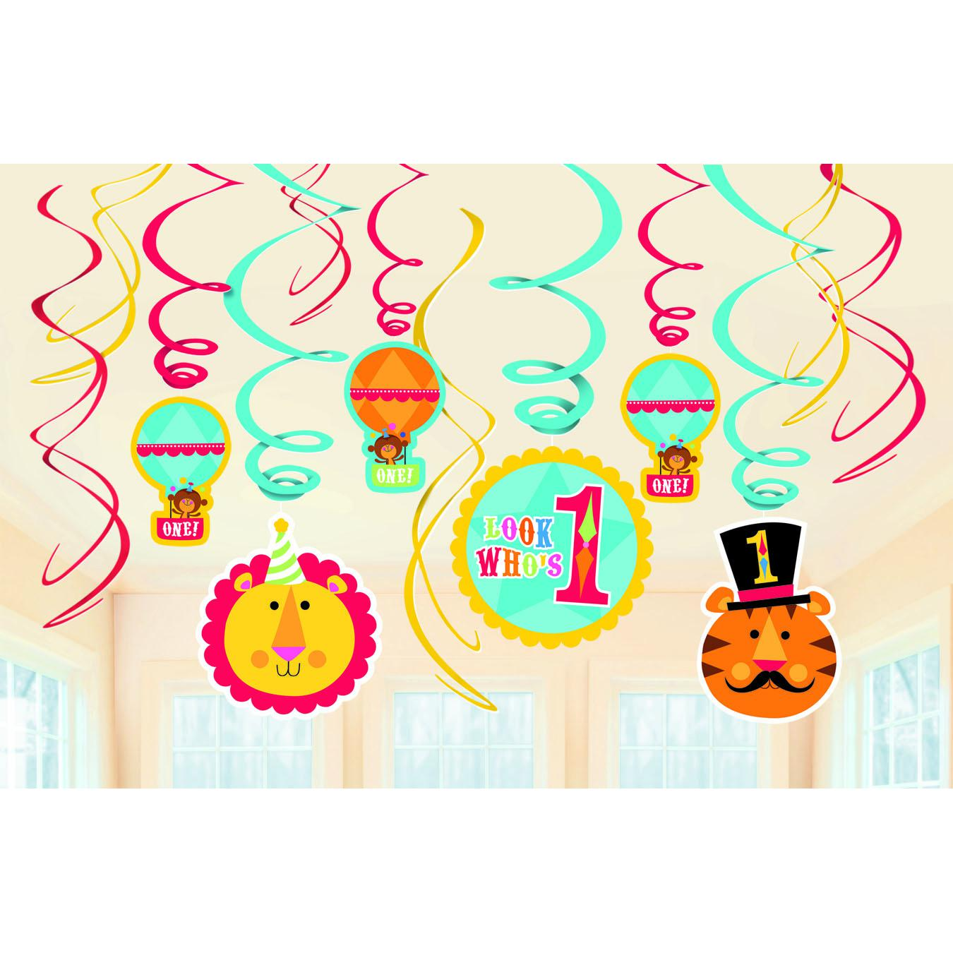 AGED 60 60TH Chevron HAPPY BIRTHDAY PARTY SWIRLS HANGING DECORATION PACK OF 12